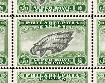 Super Bowl Champs - The Philadelphia Eagles - Artistamp (Cinderella, Faux Postage) Sheet of 16 gummed and perforated stamps.