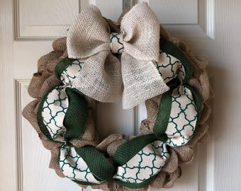 Green cream burlap wreath spring St. Patrick's Day
