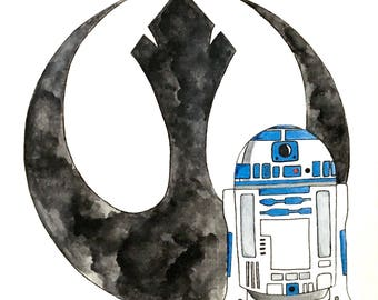 Star Wars R2-D2 watercolor painting
