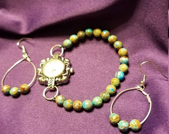 Beaded Watch with matching Earrings