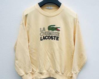 Vintage 90s La Chemise Lacoste big logo indie scooter fred yellow punk sweatshirt size 4