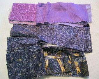Stash-Buster Purple Cotton Quilting Fabric Scraps