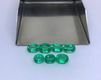 5.14Cts. AAA Natural Colombian Emerald Mix Lot 6X5MM - 7X5MM Oval Cut Faceted Gemstone