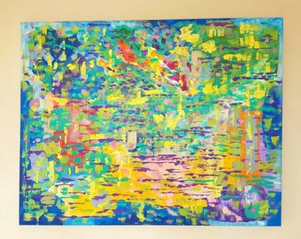 """22"""" x 28"""" Colourful Abstract Acrylic Painting on Canvas (Original Work)"""