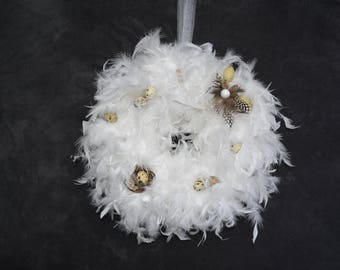 Easter Wreath with white feathers-door wreath, feather wreath, table wreath