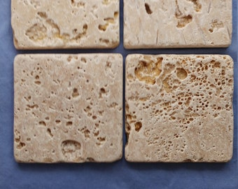 Set of 4 Natural Stone, Absorbent, Travertine Coasters