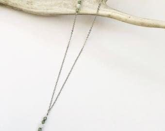 Jade Mala   Moonstone Mala Bead Staggered Necklace   Minimalist Necklace   Gemstone Necklace