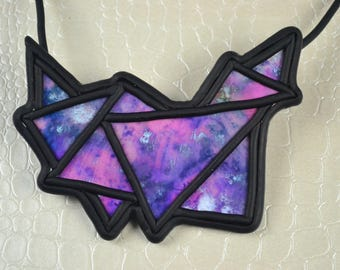 Purple geometric polymer clay necklace