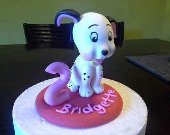 Dalmation Puppy with #2 Cold Clay Cake Topper