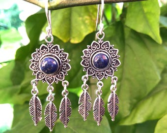 lapis Lazuli earrings / Copper dream catcher earrings Boho Earrings / hoop  Earrings / blue Lapis earrings / gift for her / Lapis