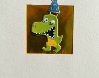 Kids Handmade Dinosaur Birthday Card