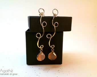 Gold Galvanized brass earrings and pink agate
