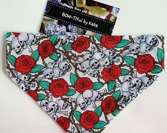 Dog Bandana - Skull Rose Design, gift for dogs, accessories, dogs, neck tie, gift, grooming, present