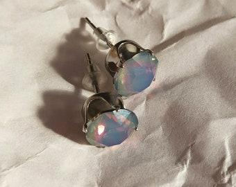 Milky Blue Rainbow Swarovski® Crystal Studs
