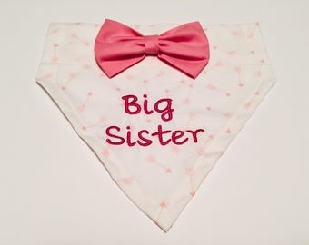Big Sister, Dog Bandana,pink bow, Pregnancy announcement, pink arrows, Gender Reveal, Photo shoot, Over the Collar, Dog lovers gift
