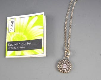 """Fine Silver Precious Metal Clay Vintage Button Collection Pendant KH1548 on 18"""" Sterling Neck Chain"""