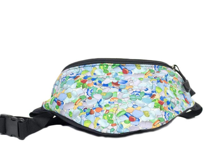 Fanny pack Sea glass fabric - Cute  - Hip Bag for travel, sport, and hiking