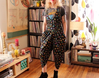 80s vintage zumba harem pants style jumpsuit . low tank top overalls, jersey knit, baggy tapered leg . APPROX small medium