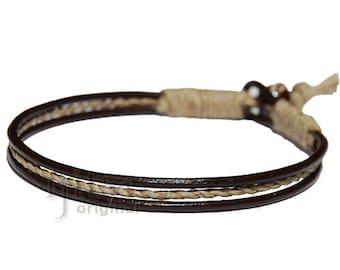 Brown leather & hemp bracelet or anklet