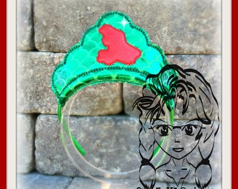 MERMaID & Wand SilHOUETTE PRiNCESS CRoWN ~ In The Hoop Headband ~ Downloadable DiGiTaL Machine Embroidery Design by Carrie