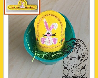 BUNNY Easter Egg Wrap Hugger ~ Snap Tab ~ In The Hoop ~ Downloadable DiGiTaL Machine Embroidery Design by Carrie