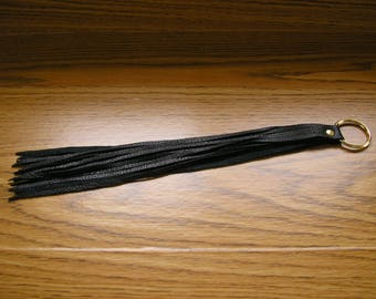 "Leather tassel keychain,  black leather tassel on a 1"" keyring, tassel is 11 1/4"" long,  12 1/2"" long overall"