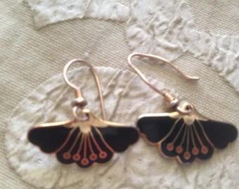 Laurel Burch Black PEONY Flower FANS Cloisonne Earrings French Earwires Vintage Jewelry 1980s