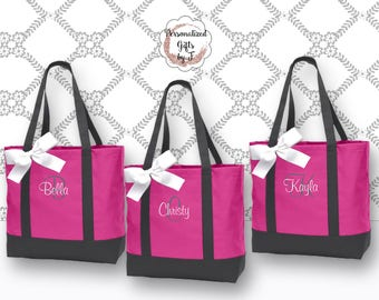 Personalized Bridesmaid Gift Bags, Bridesmaids Gift, Monogrammed, Maid Of Honor Gifts, Wedding Day Tote, Cheer Totes, Gifts for Her