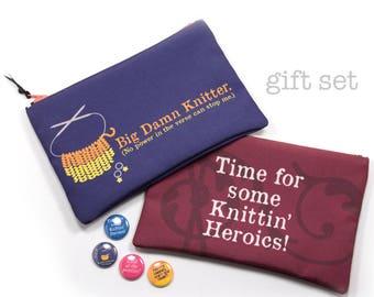 Zipper Bag Gift Set, Firefly Knitting Gift Set