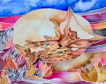 Sleeping Fox original watercolor by Megan Noel