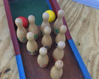 Vintage wooden toy bowling alley