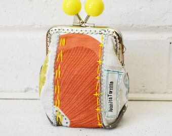 Orange Large Wide-base Kisslock Coin Purse Card holder handmade with hand stitching. Upcycled. One of a kind.