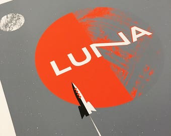 Screenprint Luna 2017 Tour Poster - Silkscreen Rock Poster - Rocket Space Moons Print