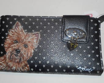 Cairn Terrier Dog Custom Hand Painted Women's Leather Wallet