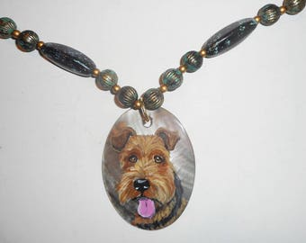 Welsh Terrier Dog Beaded Necklace Hand Painted Shell Pendant Jewelry