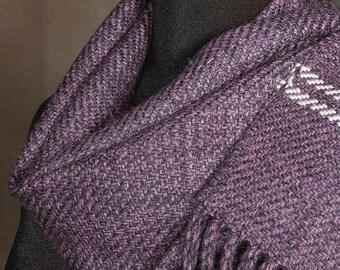 Handwoven merino wool winter scarf / eggplant / slate