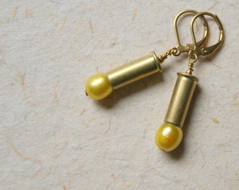 Bullet Earrings with gold freshwater pearls  - FREE GIFT WRAP