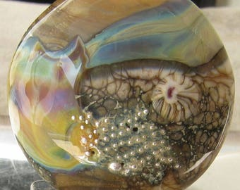 DFJ Lampwork Focal Bead Low Tide Beach Silver glass shards mesh Murrine