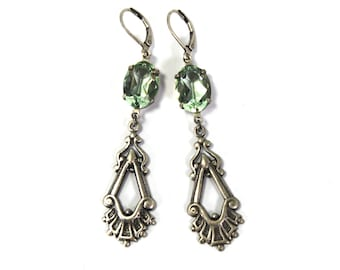 Antique Style Earrings in Antiqued Silver with Jonquil Swarovski Crystal Prong Set Stones Drop Dangle Earrings