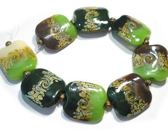 Handmade Glass Lampwork Beads, Woodland Squeezed