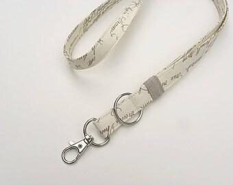 French Neck Lanyard Key Chain, Stylish Lanyard Key Fob, Breakaway Lanyard Necklace, Gift Under 10, Christmas Gift for Teacher, Coworker Gift