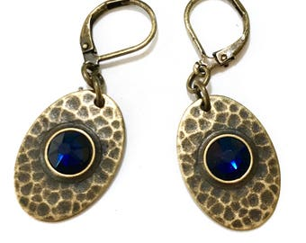 Hammered Brass Leverback Earrings With Dark Indigo Faceted Crystals