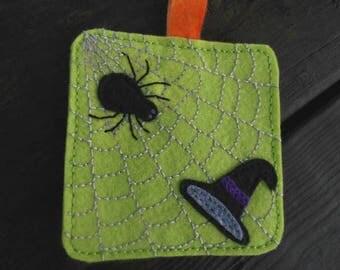 Spider Art, Witch Hat, Spider Web, Halloween Fiber Art, Embroidery Art,Halloween Folk Art, Mini Wallhanging, Wall art, Ornament