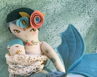 Embroidered mermaid mama and baby cloth doll Merin and Minnow OOAK