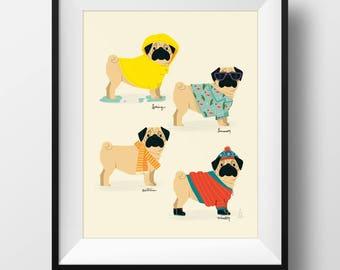Fine Art Pug Print - Seasonal Pugs Illustration