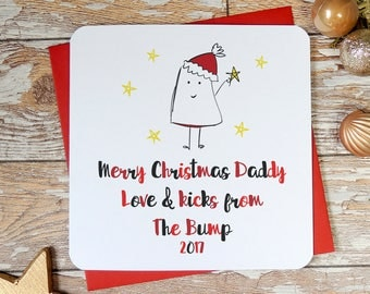 From the bump, Bump christmas card, Daddy to be card, Daddy christmas card, Daddy card, Dad to be, Pregnancy announcement, uk seller