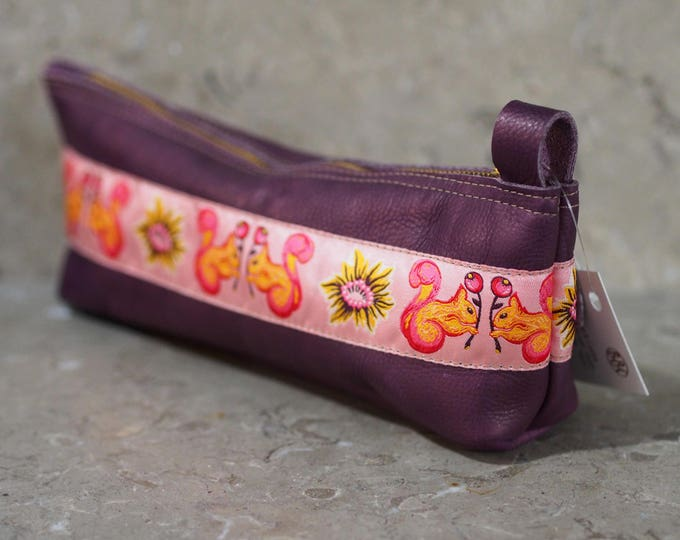 Purple leather and Pink Squirrel ribbon zippered case