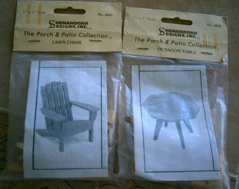 Miniature Wood Adirondack Chair and Table for Dollhouse, Dollhouse Accessories, Vintage Furniture Kits