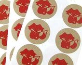 Animal Kraft Stickers - owl, fox, red panda, and hedgehog (5 pkg each)