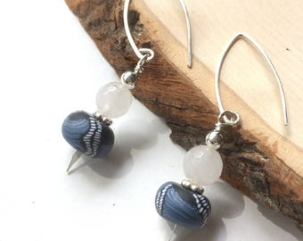 White Jade Earrings Blue Polymer Clay Beads, Long Oval Ear Wires, Denim Blue and Sterling Silver, Dainty Dangle Earrings, One of a Kind